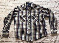 Men's Wrangler Long Sleeve Regular Fit X-Long Tails Pearl Snap Shirt Size Large