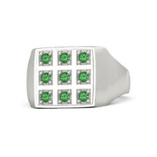 Real 0.39 Ct Round Emerald Anniversary Men's Band Solid 950 Platinum Size S T U