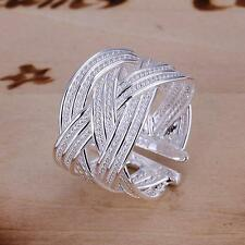 New Silver Color Ring Woven Mesh Open Ring Women Men Gift Finger Rings