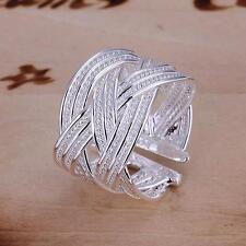 Special Design Woven Mesh Open  Ring Women Men Gift Silver Jewelry Finger Rings