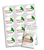12 Merry Christmas Holly Edible Cupcake Toppers Decorations Cake Xmas Cut