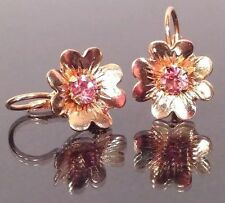 VTG 14K GOLD Earrings Pink Stone/Flower Leverback 3g Stamp14ITALY⋆⋆158VA TESTEDx