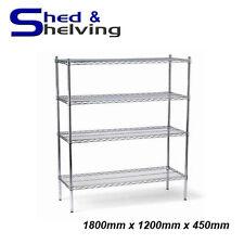 1800x1200x450mm Chrome Wire Shelving Racking Shop Display Kitchen Storage
