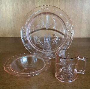 Tiara Indiana Glass Pink Child's Nursery Rhyme Plate & Bowl & Mug Set