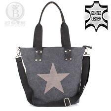 TOP Stern Star Hand Schulter Tasche Leder Canvas Jeans Stoff Shopper Schwarz NEU