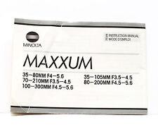 Minolta Maxxum AF Lens 35-80mm 70-210mm 100-300mm 35-105mm 80-200mm Manual Guide