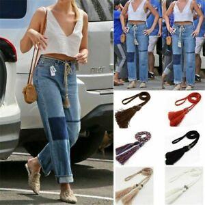 Ladies Belt Braided Belt Woven Tassel Self-Tie Thin Chain Waist Bow Tie Rope UK