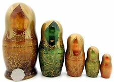 Russian nesting HAND PAINTED 5 DOLLS GOLD Paisley Pattern Brown Green Matryoshka