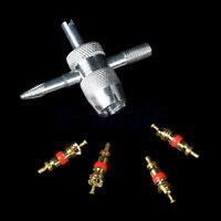 4X Ventileinsatz kurz Ventil Einsatz + Ventileinsatzschlüssel Ventilschlüssel GE