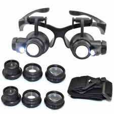 8 Lens Magnifier Magnifying Eye Glass Jeweler Watch Repair Loupe + LED Light