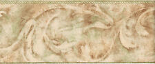 Brushstroke Scroll in Greens, Browns and Rust Wallpaper Border  AZ5150B