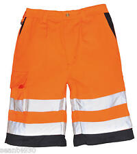 Portwest Workwear Hi-Vis Poly-cotton Shorts - E043 orange small