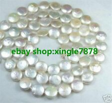 Charming ! 12-13mm Pink/Black/White Coin Shape Freshwater Pearl Necklace