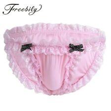 Men Panties Lingerie Sissy Maid Floral Lace Briefs