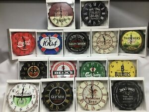 Retro Bottle Top Clocks 30 cms, Loads of Designs, Distressed Metal, Fab Item