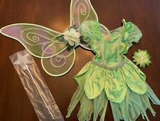 4 pc Disney Store TINKERBELL Fairy Dress Wings + Wand Flower Bow Costume Sz 5-6
