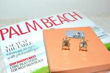 NIB $155 ROCO Rodrigo Otazu Spectacular Lt. Colorado Rectangle Goldtone Earrings