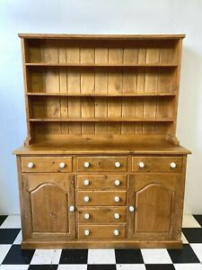 Heavy solid oak country kitchen dresser wall display larder cabinet - Delivery