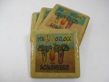 "4 Piece Stoneware Square Drink Coasters ""It's Five O Clock Somewhere"" San Marino"