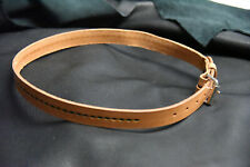 leather hand tooled belt nice green center design heavy leather NEW made USA