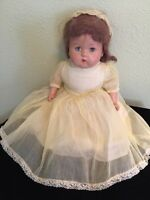 """Antique 18"""" Composition Doll Cloth Body Sleep Eyes Hair Yellow Dress Shoes Nice"""