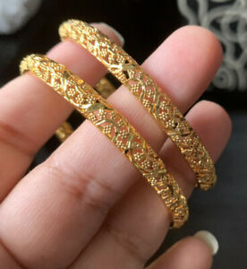Dubai 24k Gold Plated 2 Bangles Breclet Karra Indian Bridal Arab Asian African