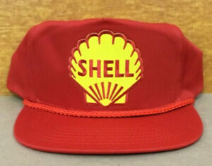 Vintage NOS Rare Shell Oil Company Adjustable Snapback Cap Hat with Rope New