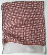 Vintage Mens Fringed Geometric Patterned Pure Silk Scarf Dandy (9950E)