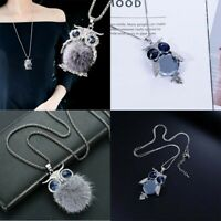 Necklace Chain  Fur  Women Rhinestone  Crystal  Long  Owl  Pendant  Sweater