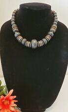 """VINTAGE SILVER TONE W/ BLACK WOOD BEADS NECKLACE 17"""""""