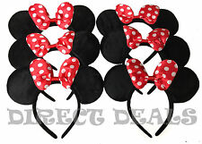 24 Minnie Mouse Ears Headbands Red Polka Dot Bows Party Favors Birthday Mickey