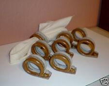 New listing Set of (8) Heavy Ceramic Pottery Napkin Rings - Brown/Grey Design - Euc