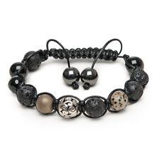 Shamballa Gemstone Bracelet Black Lava Onyx Silver Karma Dalmatian Jasper UK