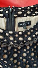 Jaeger Black/Nude Crochet Overlay Fitted Midi Pencil Dress Size 8/10