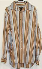 Express Mens Striped Cotton Long Sleeve Button Down Pocket Dress Shirt Large L
