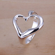 Hot 925Sterling Silver Open Heart one size Adjustable Ring