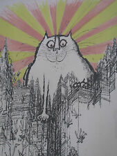 "RONALD SEARLE LITHOGRAPH 1968 Pencil Signed - ""The Coming of the Great Cat God"""