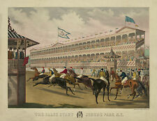 "1868 Horse Race, Art Print, Jerome Park, NY horse racing track, 14""x11"", antique"