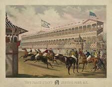 "1868 Horse Race, Art Print, Jerome Park, NY horse racing track, 14""x11"", antique"