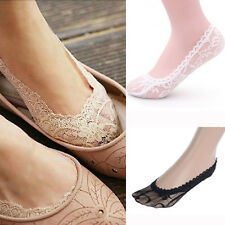 Women Lace Non-Slip Footlet Casual Invisible Low Cut Ankle Boat Socks Sockings @