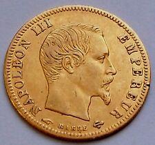 ♔ SUPERBE & Rare! Pièce de 5 Francs frs en Or * Napoléon III Tête Nue 1857 A * ♔