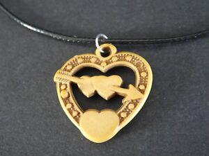 Empowering Jewelry Black Necklace Wood Heart Arrow Cupid Charm Indie Boho Urban