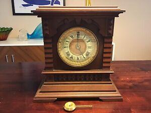 Antique Ansonia Syria 8 Day Mantle Clock w/ Original Label