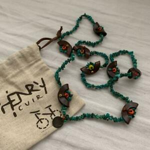 Henry cuir leather and colored beads turquoise necklace Folded in half 41 cm