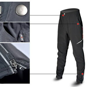 Men's Black Cycling Pants Bike Bicycle Long Pants Reflective Riding Trousers