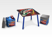 TT89313CR Pixar Cars Wooden Table and 2 Storage Ottoman Set by Disney