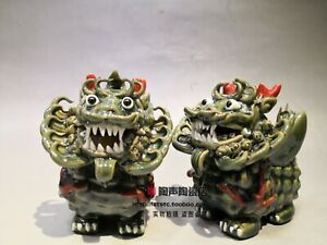 Chinese Color Porcelain Animal Pi xiu Brave troops Unicorn God Beast Statue Pair