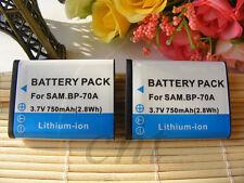 2X Battery for Samsung BP70A Battery for SL50 ES65 ES70 PL80 PL100 WP10 AQ100