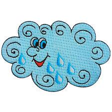 Cute Blue Sky Cloud Smiley Rain Rainy Cartoon Kids Hippie Iron-On Patches #A098
