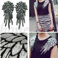 Women Mirror Pair Winged Epaulet Shoulder Sequined Embroidery Applique Silver